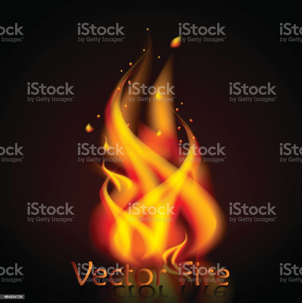 Vector fire realistic 3d illustration n isolated black background royalty-free vector fire realistic 3d illustration n isolated black background stock vector art & more images of abstract
