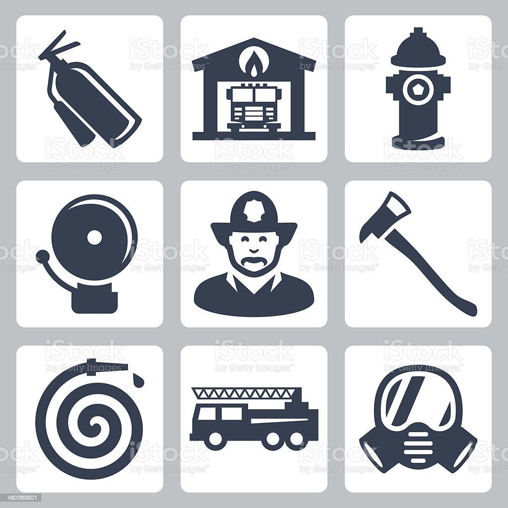 Vector fire station icons set vector art illustration
