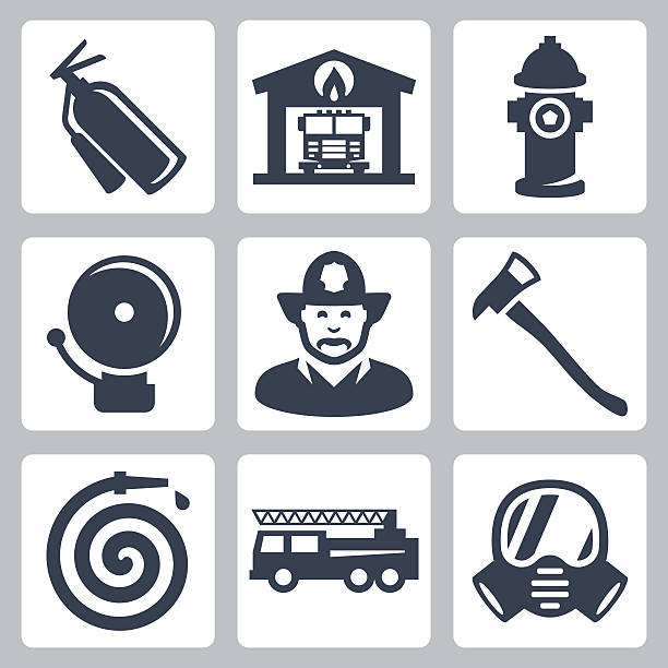 Vector fire station icons set Vector fire station icons set: extinguisher, fire house, hydrant, alarm, fireman, axe, hose, fire truck, gas mask fire station stock illustrations
