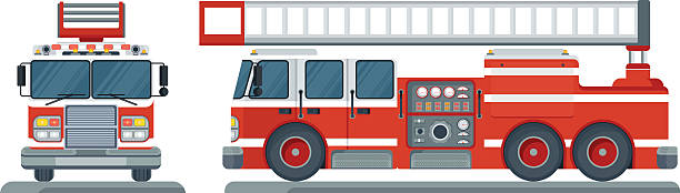 vector fire truck Vector isolated red fire engine front, side. Fire truck rescue engine transportation. Firefighter emergency. Flat cartoon illustration. Objects isolated on a white background. fire engine stock illustrations