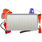 Vector Firefighter Metal Board isolated on white background