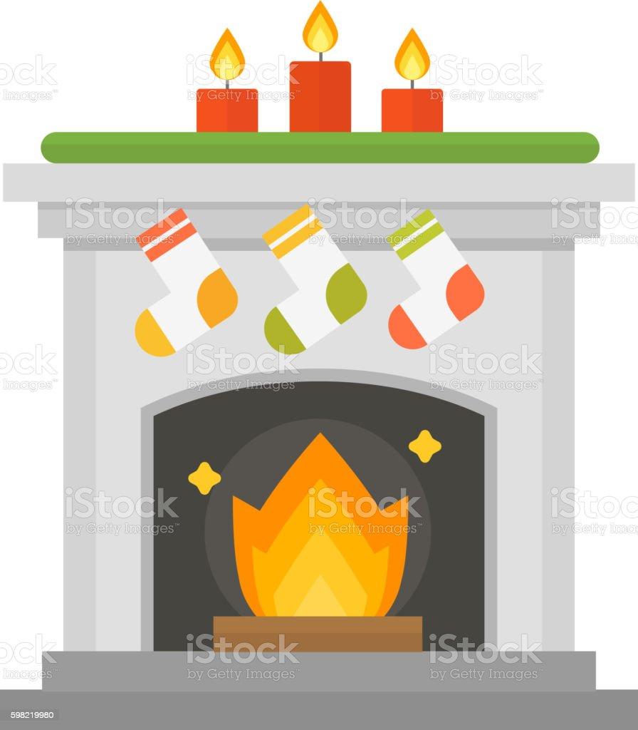 Vector fireplace isolated on white ilustração de vector fireplace isolated on white e mais banco de imagens de ilustração e pintura royalty-free