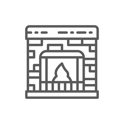 Vector fireplace line icon.