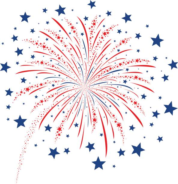 Vector firework design on white background vector art illustration
