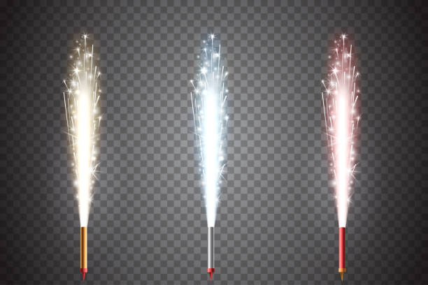 vector firework set. fountain of sparks. decorative fireworks. golden, blue and red sparkling pillar of fire isolated on transparent background. element of new year's and christmas celebration. - fontanna stock illustrations