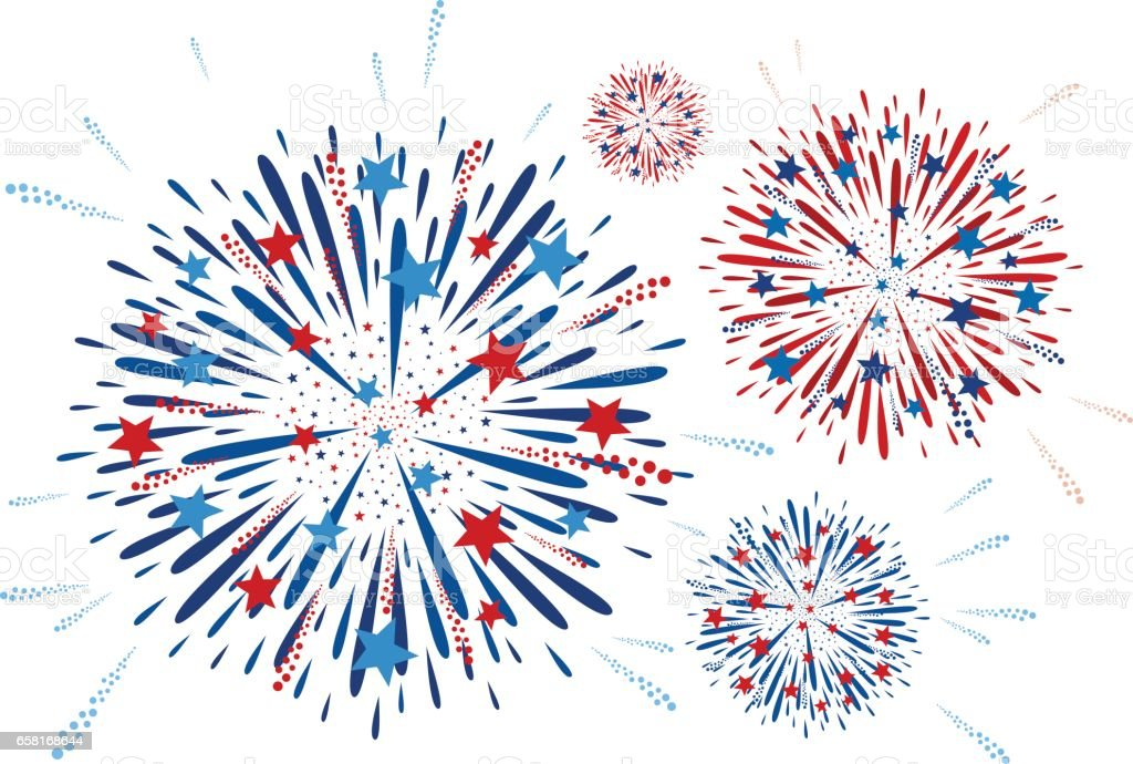 Vector fireworks design on white background vector art illustration