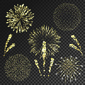 Vector fireworks set in various shapes isolated on black transparent background