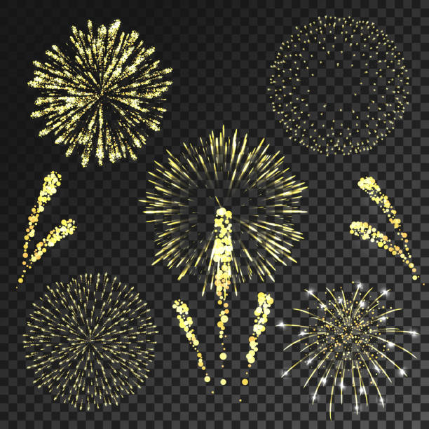 Vector fireworks set in various shapes isolated on transparent background vector art illustration