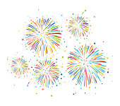vector fireworks background for christmas, 4th of july, carnival and holiday illustrations. colorful bonfire firework night with stars and  sparkles