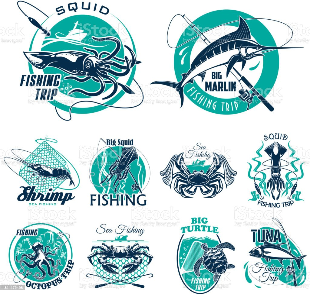 Vector fish symbols for fishing trip icons vector art illustration