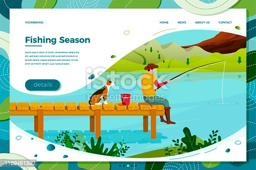 Vector illustration - fisherman and dog sitting on wooden bridge with rod and bucket. Forests, trees, mountains and hills on green background. Banner, site, poster template with place for your text.