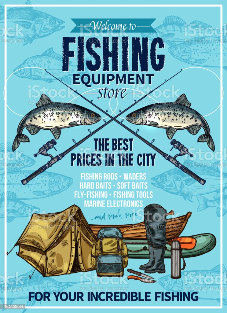 Vector fisherman sport fishing equipement poster vector art illustration