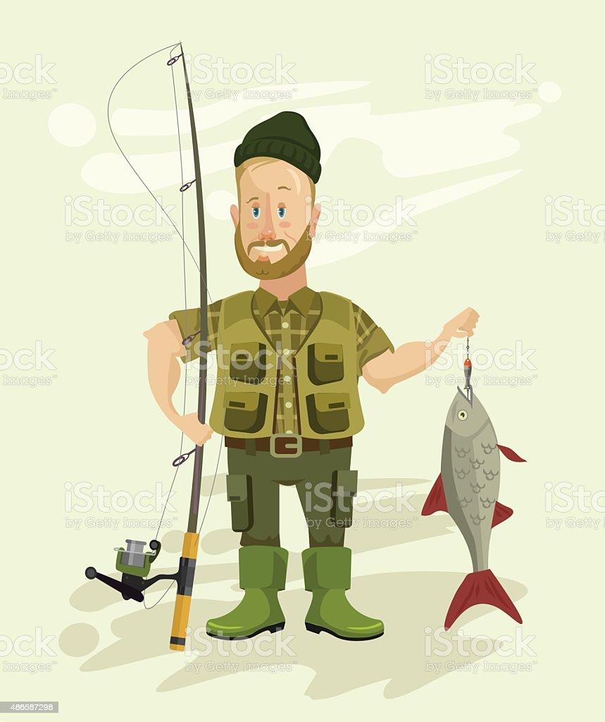 Vector fisherman flat illustration vector art illustration