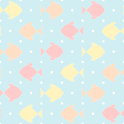 vector fishes on dotted repetitive background. baby seamless pattern. fabric swatch. wrapping paper. continuous print. sea design element for home decor, apparel, phone case, textile. pastel colors