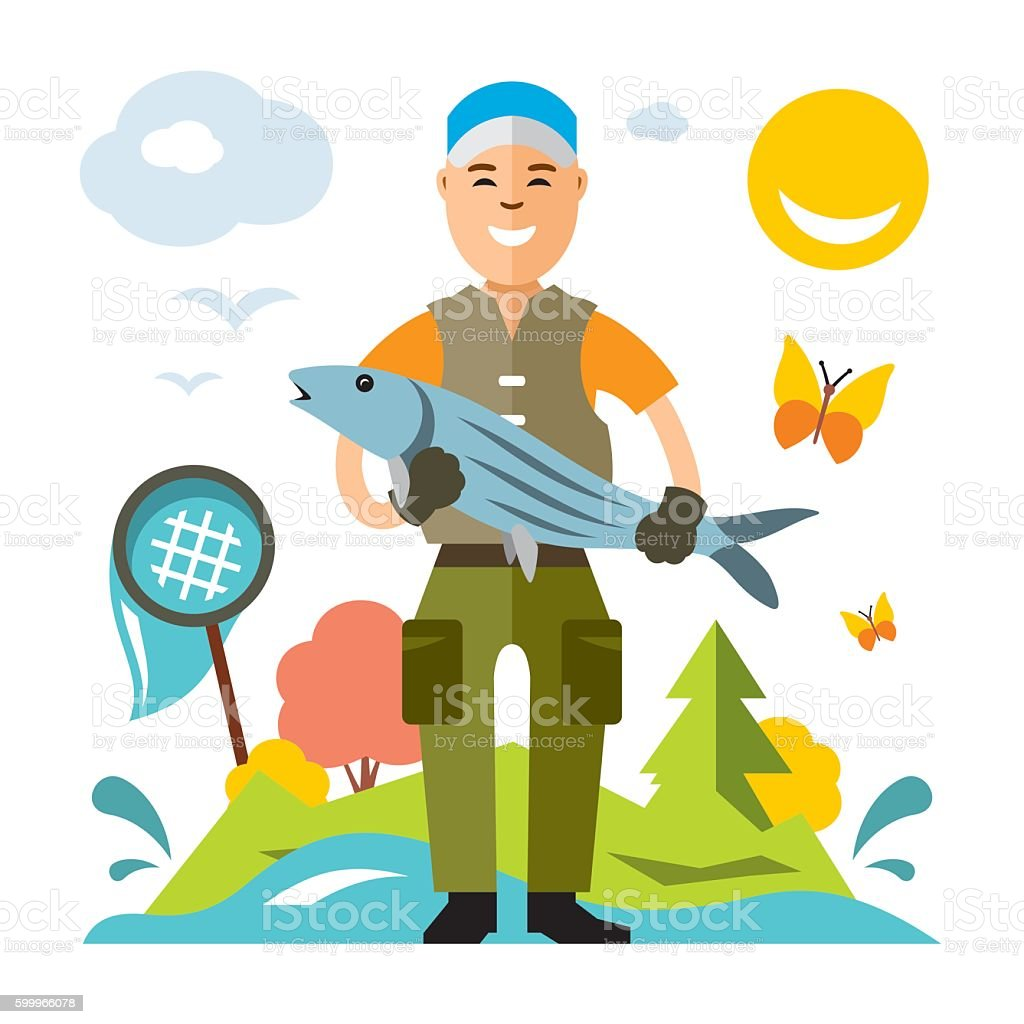 Vector Fishing concept. Fisherman with big fish. Flat style colorful – Vektorgrafik