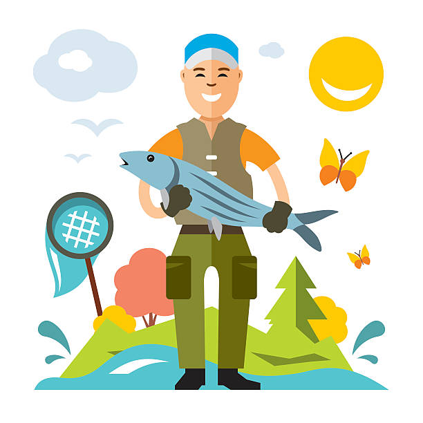 ilustrações de stock, clip art, desenhos animados e ícones de vector fishing concept. fisherman with big fish. flat style colorful - fishman