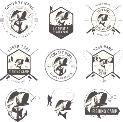Vector fishing labels and badges