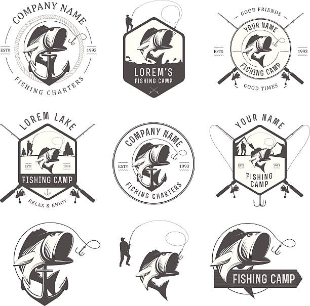 Vector fishing labels and badges vector art illustration