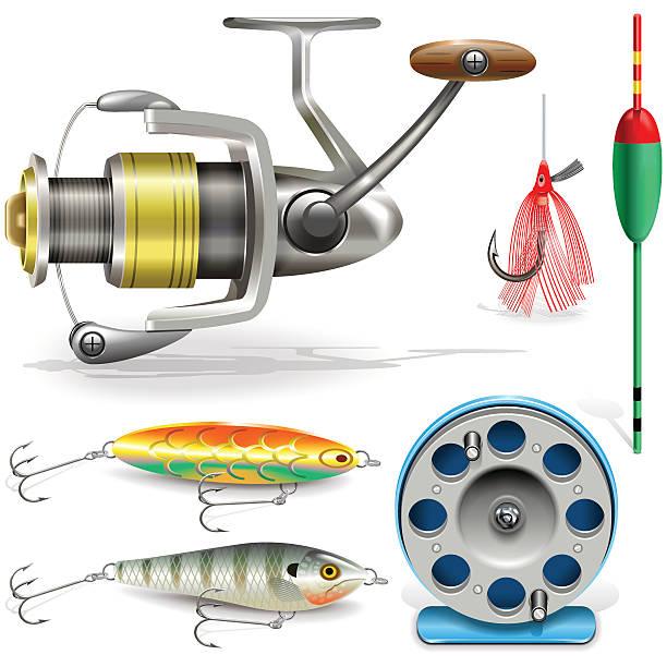 Vector Fishing Tackle Vector fishing tackle set with fishing reel, bobbin, bobber, lure, isolated on white background fishing reel stock illustrations