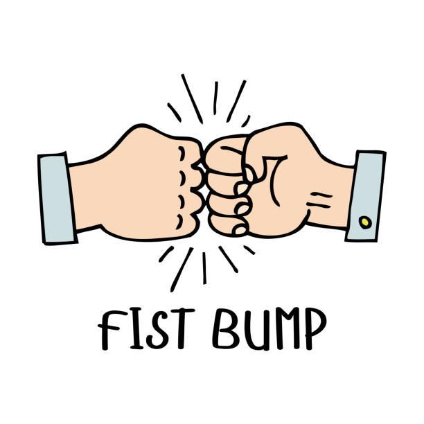 ilustraciones, imágenes clip art, dibujos animados e iconos de stock de vector fist bump sketch dibujo icono de dos luchar mano o golpe junto por choque de negocio, colaboración e ilustración de debate. - hermano
