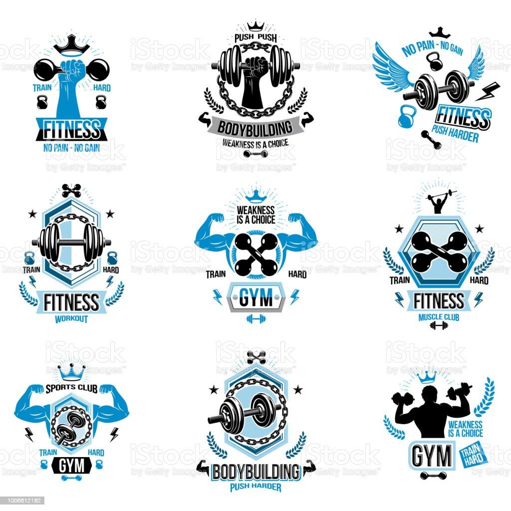 Ilustración De Fitness Vector Y Atletismo Tema Símbolos Y