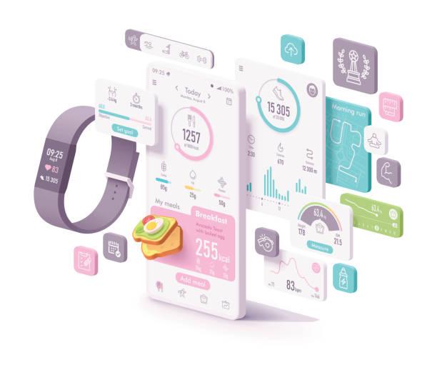 Vector fitness and diet app concept vector art illustration