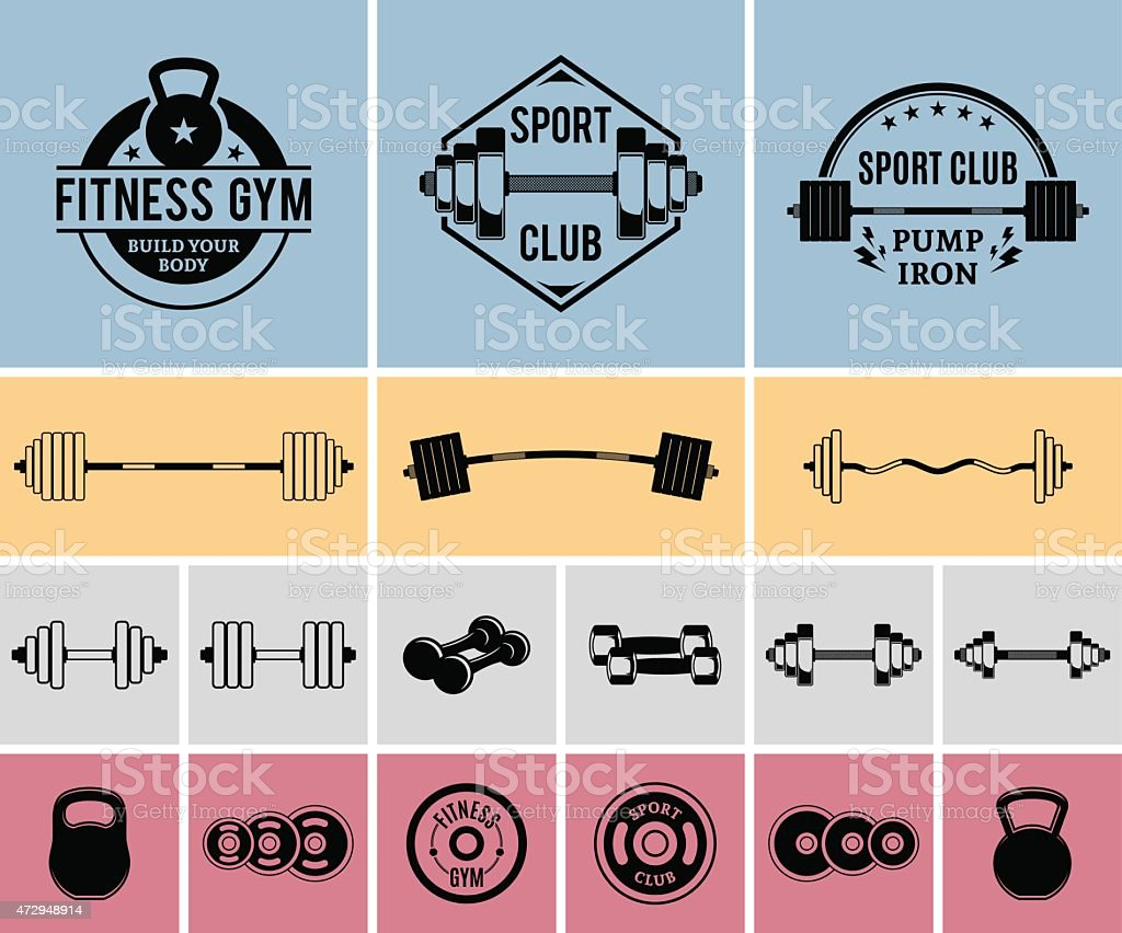 Vector Fitness and Gym Labels Templates and Icons vector art illustration