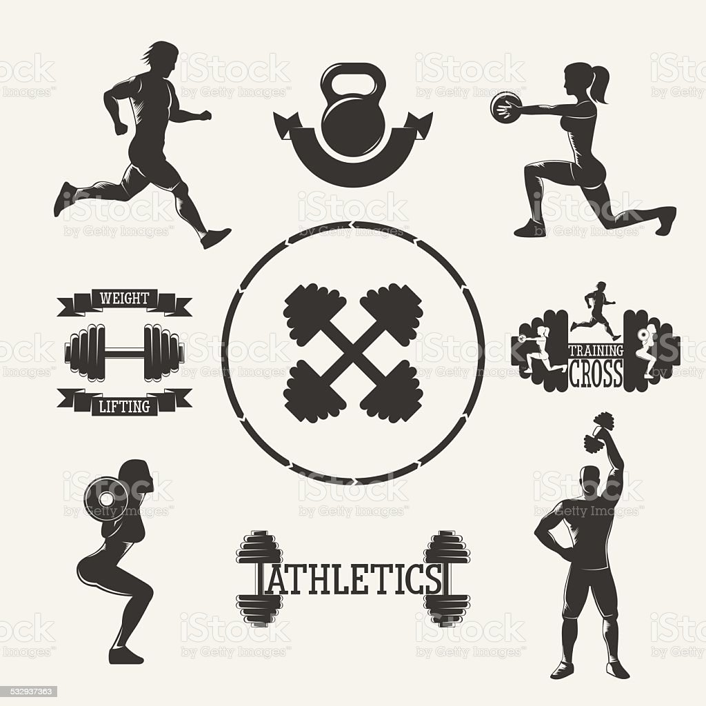 Vector fitness set vector art illustration
