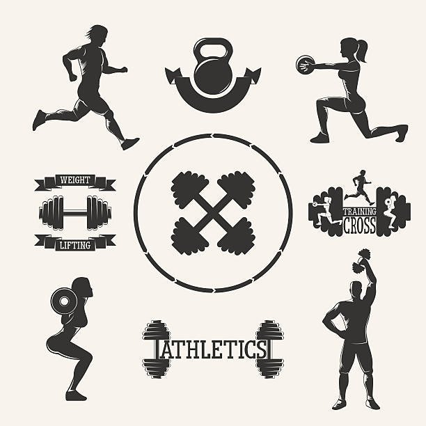 vector fitness set - personal trainer stock illustrations, clip art, cartoons, & icons