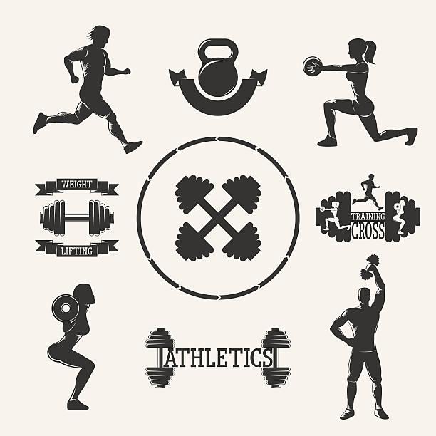 Vektor-fitness-set – Vektorgrafik