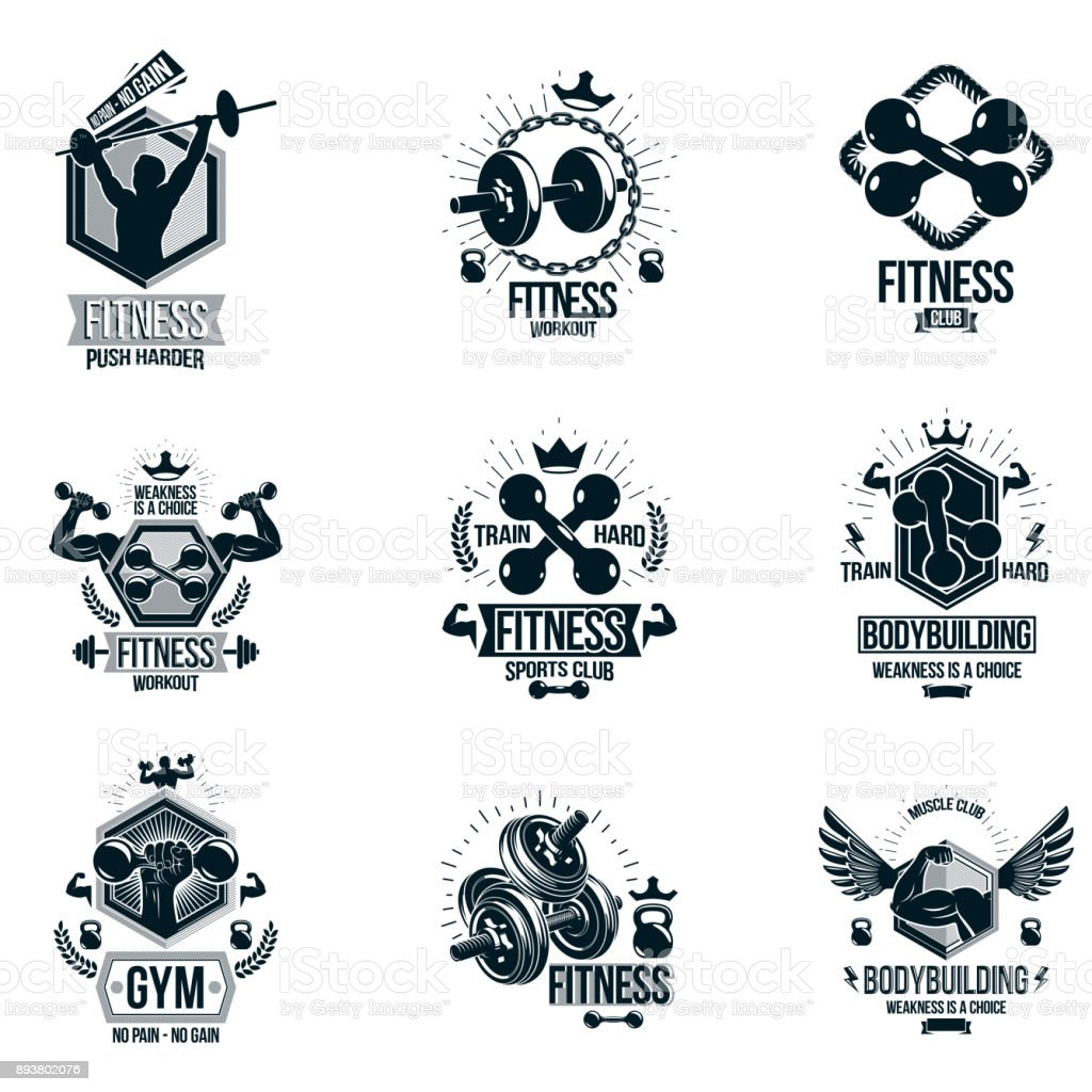 Vector fitness workout tema s mbolos e inspiradora cole o for Weightlifting tattoo designs