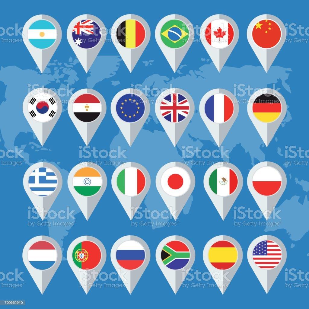 Botones de vector bandera de diseño plano - ilustración de arte vectorial