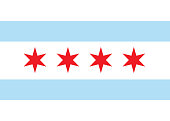 Vector flag chicago. Background United States State