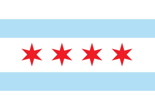 Vector flag chicago Vector flag chicago. Background United States State chicago stock illustrations