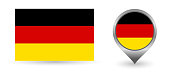 istock Vector flag Germany. Location point with flag Germany inside. 1310383712