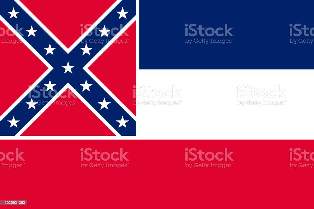 Ilustração em vetor bandeira do Mississipi, Estados Unidos da América - ilustração de arte em vetor