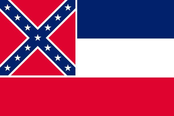 ilustrações, clipart, desenhos animados e ícones de ilustração em vetor bandeira do mississipi, estados unidos da américa - bandeira union jack