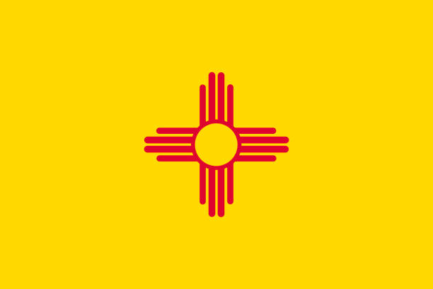 Vector flag illustration of New Mexico state, United States of America vector art illustration