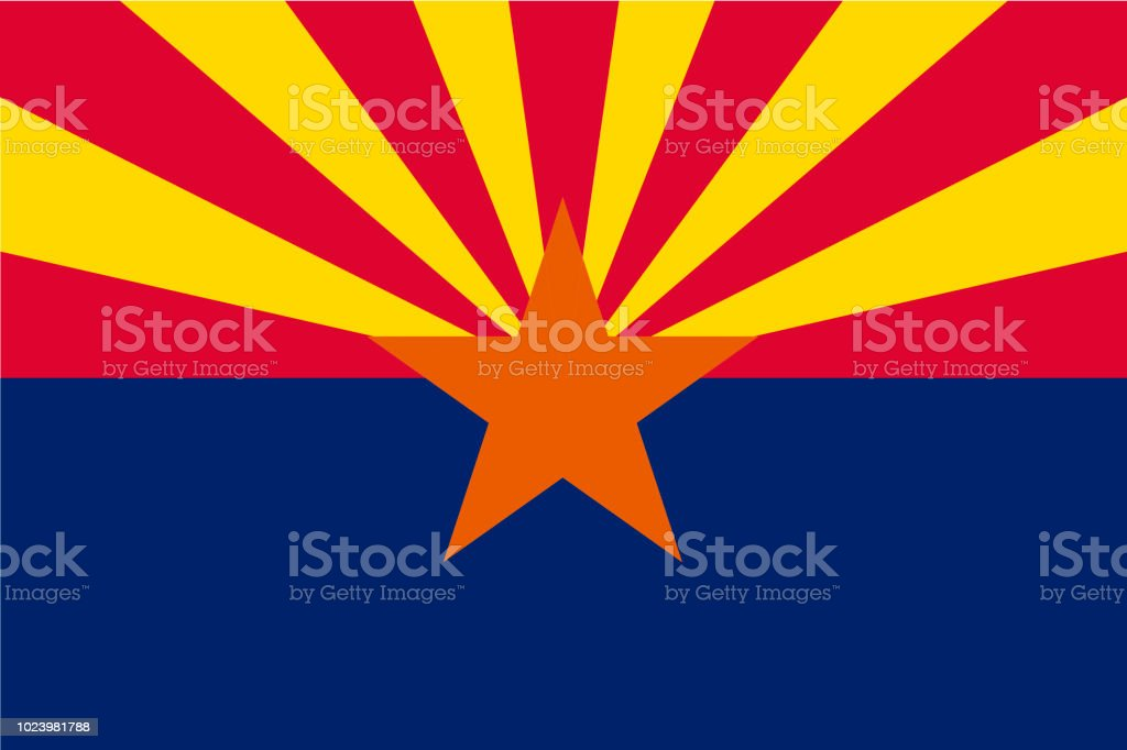 Vector flag of Arizona state, United States of America. royalty-free vector flag of arizona state united states of america stock illustration - download image now