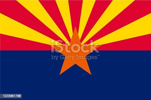 istock Vector flag of Arizona state, United States of America. 1023981788