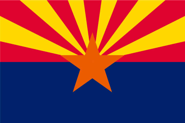 vector flag of arizona state, united states of america. - rock formations stock illustrations
