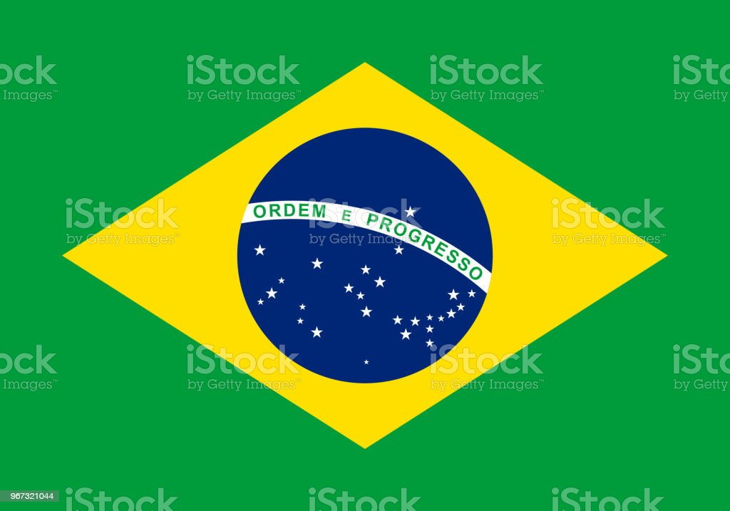 Vector flag of Brazil. Proportion 7:10. Brazilian national flag. vector art illustration