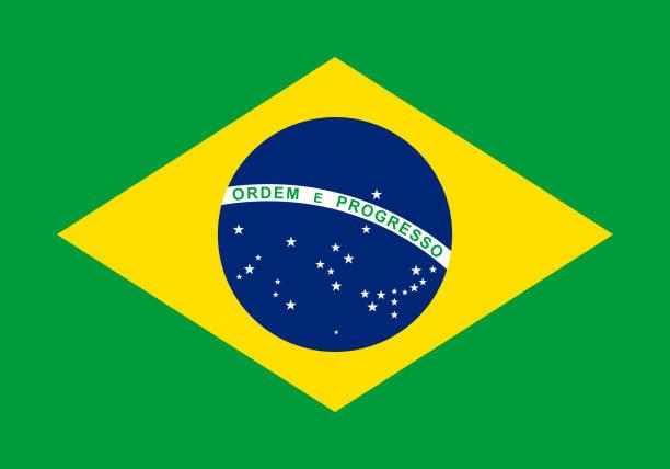 Vector drapeau du Brésil. Proportion à 07:10. Drapeau national brésilien. - Illustration vectorielle