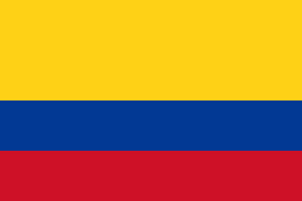 stockillustraties, clipart, cartoons en iconen met vector vlag van colombia. deel 2:3. colombiaanse nationale driekleurige vlag. tricolor. - colombia land