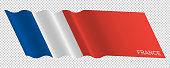 Vector flag of France waving background