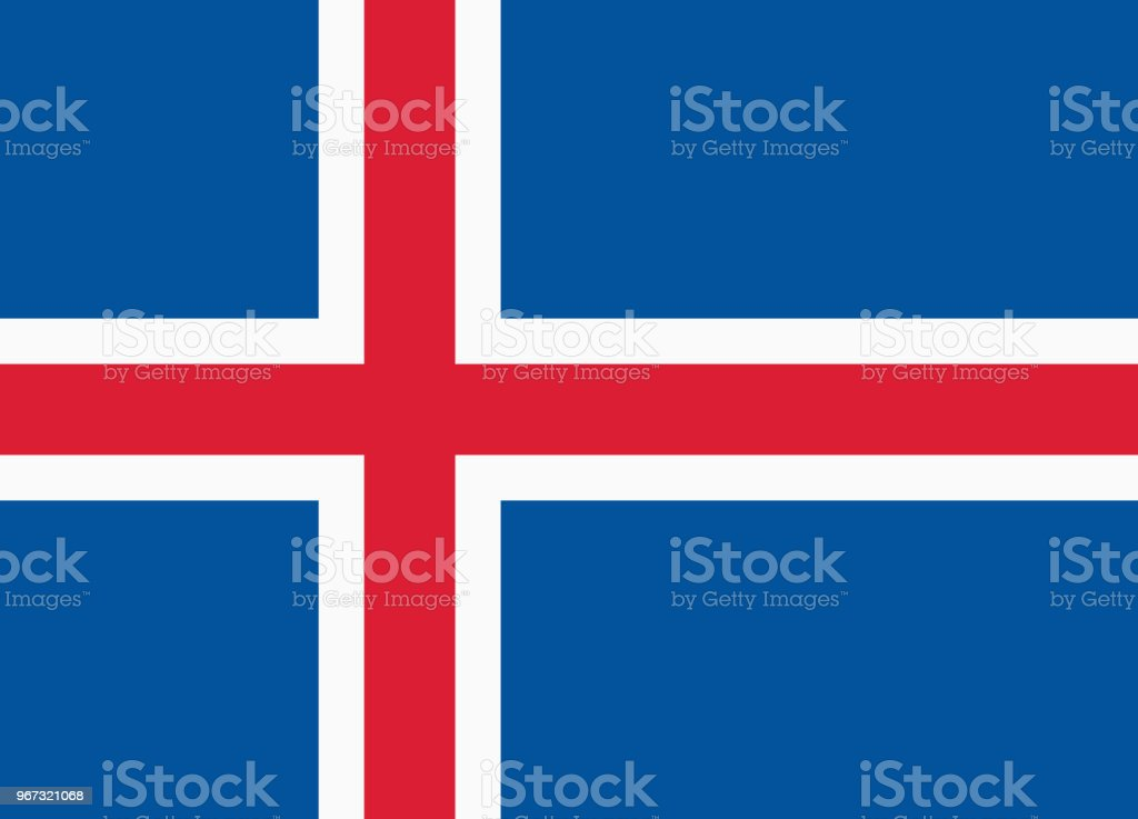 Vector flag of Iceland. Proportion 18:25. Icelandic national nordic or scandinavian cross flag. vector art illustration