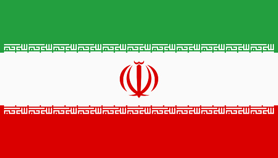 Vector flag of Iran. Proportion 4:7. Iranian national tricolor flag. Tricolor.