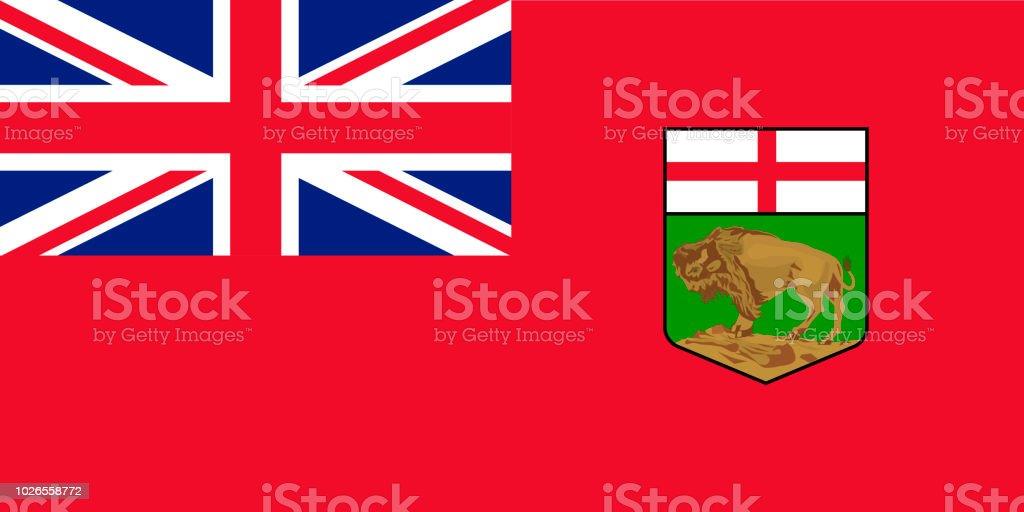 Vector bandeira da província de Manitoba, Canadá. Winnipeg - ilustração de arte em vetor