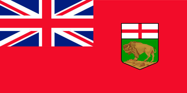 ilustrações, clipart, desenhos animados e ícones de vector bandeira da província de manitoba, canadá. winnipeg - bandeira union jack