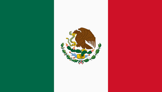 Vector flag of Mexico. Proportion 4:7. Mexican national tricolor flag. Tricolor.